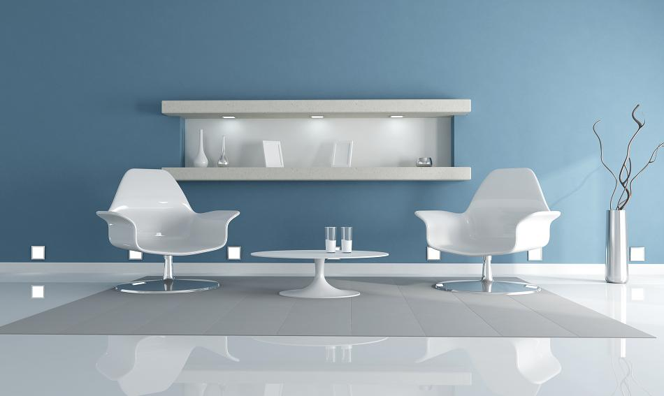 two white fashion armchair in a clear blue living room- rendering