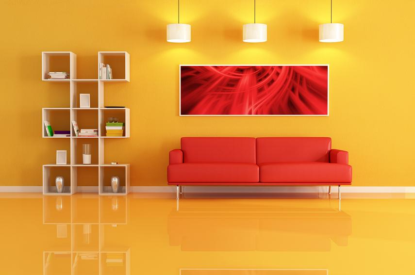 living room white modern bookcase,sofa and abstract picture.
