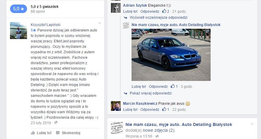 """Jedna z opinii na Facebooku """"Nie mam czasu, myję auto. Auto Detailing Białystok"""""""